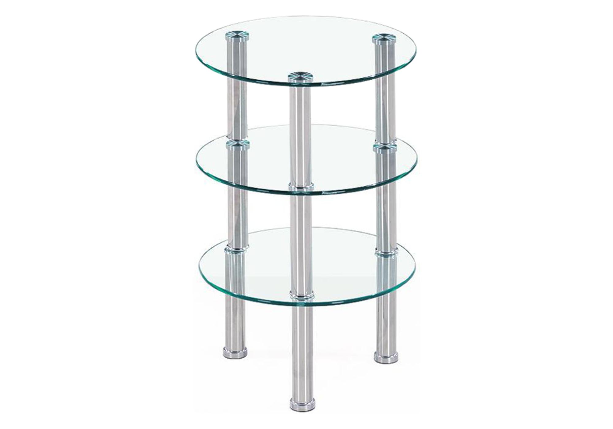 Table d\'appoint chromé verre ZAO I