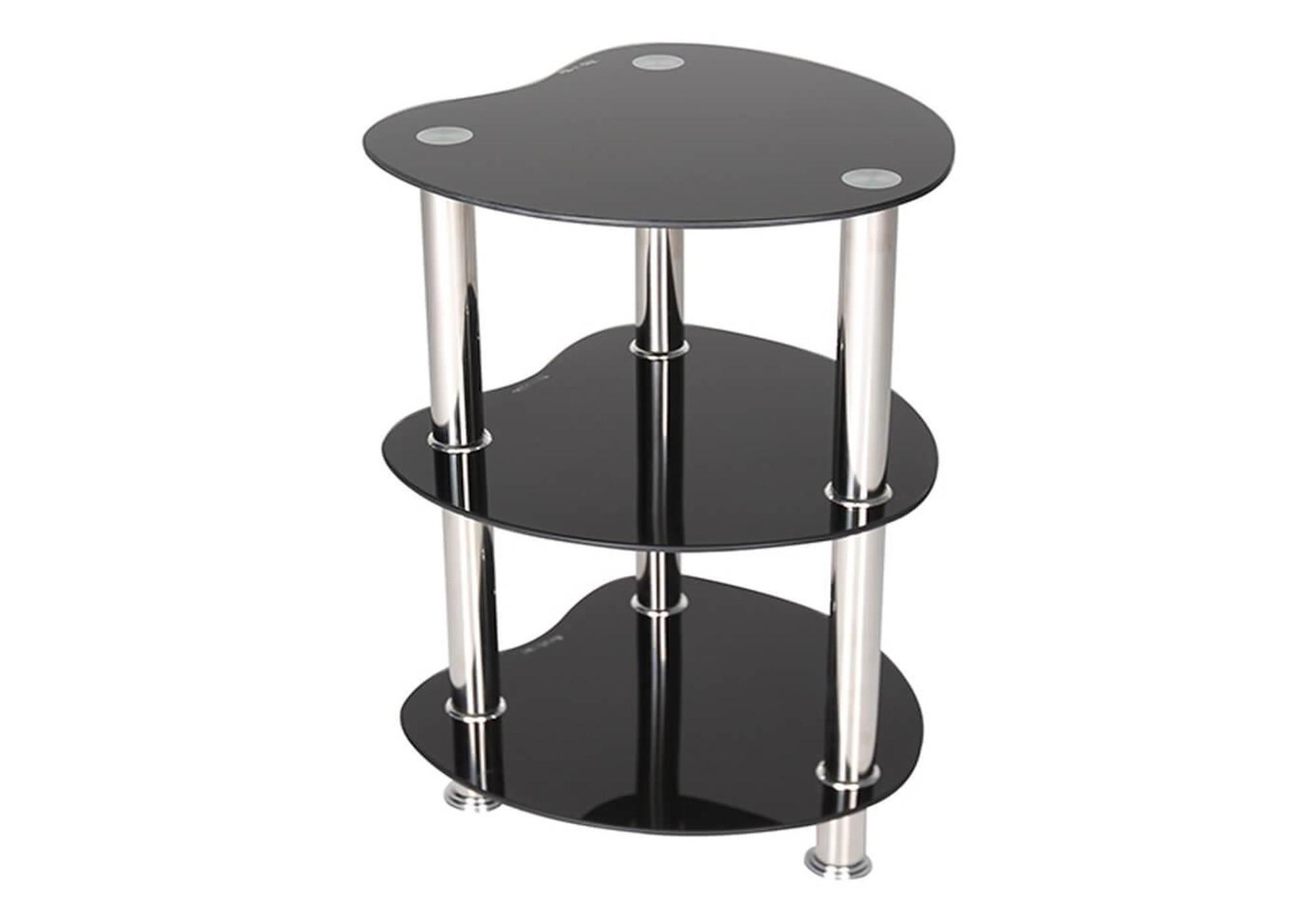Table d\'appoint verre trempé noir DEA