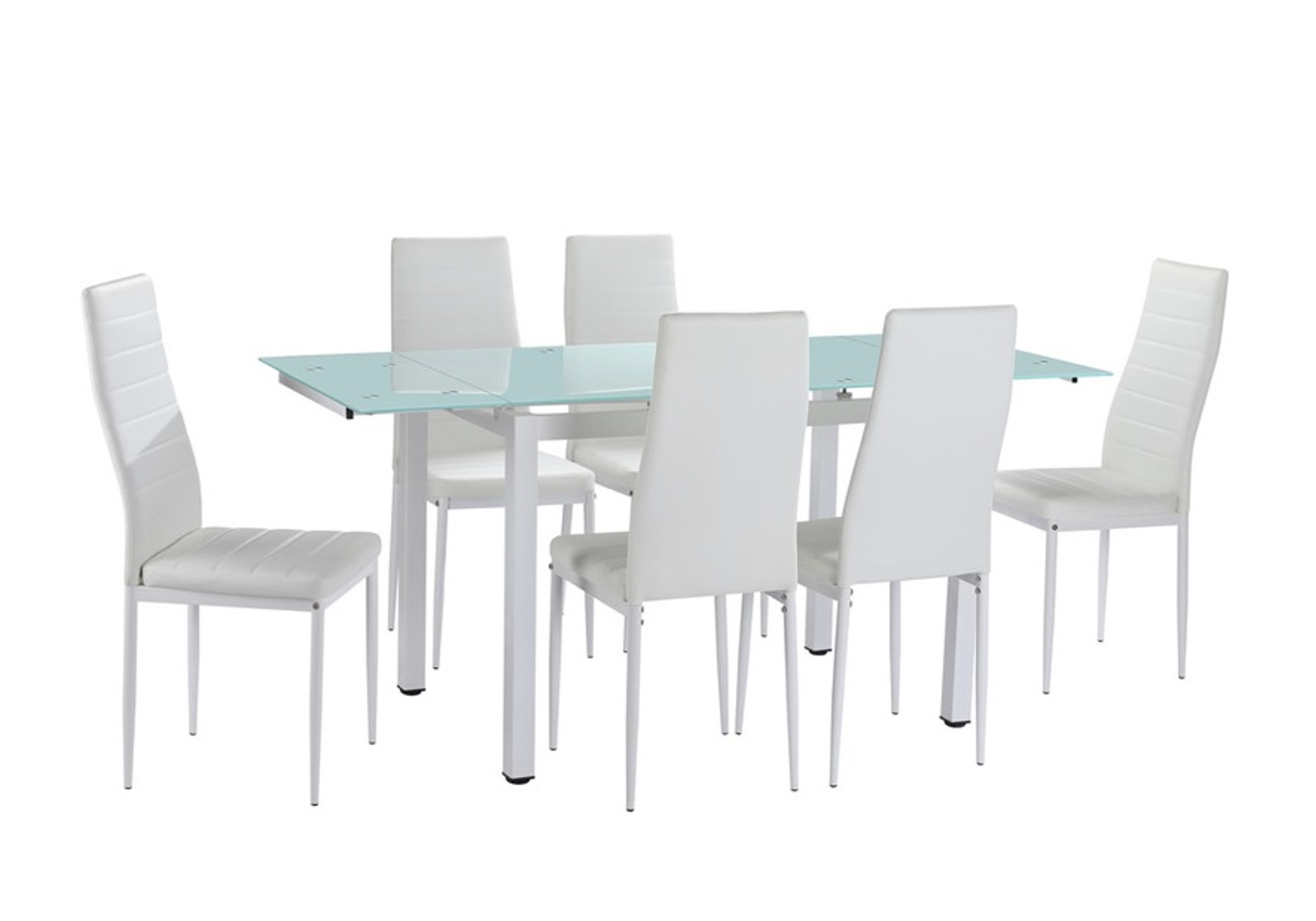 Table extensible 6 chaises blanc FLY