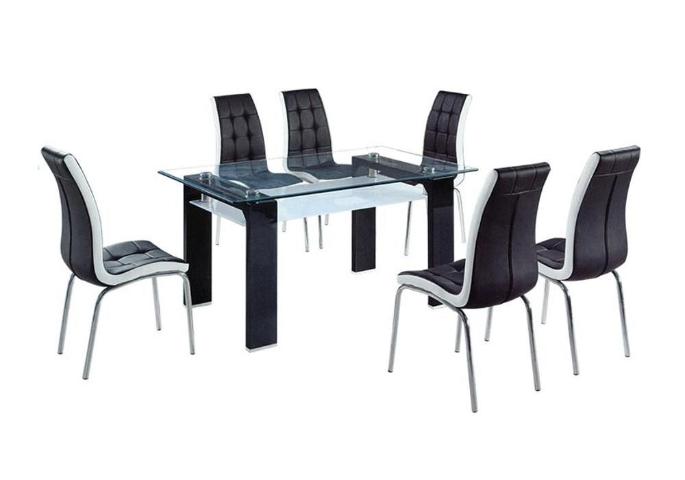 Table laqué noir 6 chaises TOE