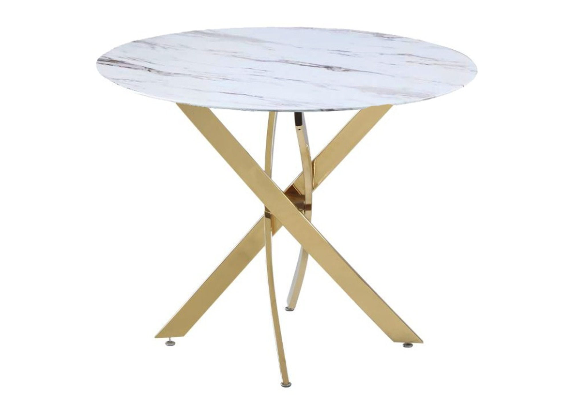 Table ronde doré marbre blanc DESIGN