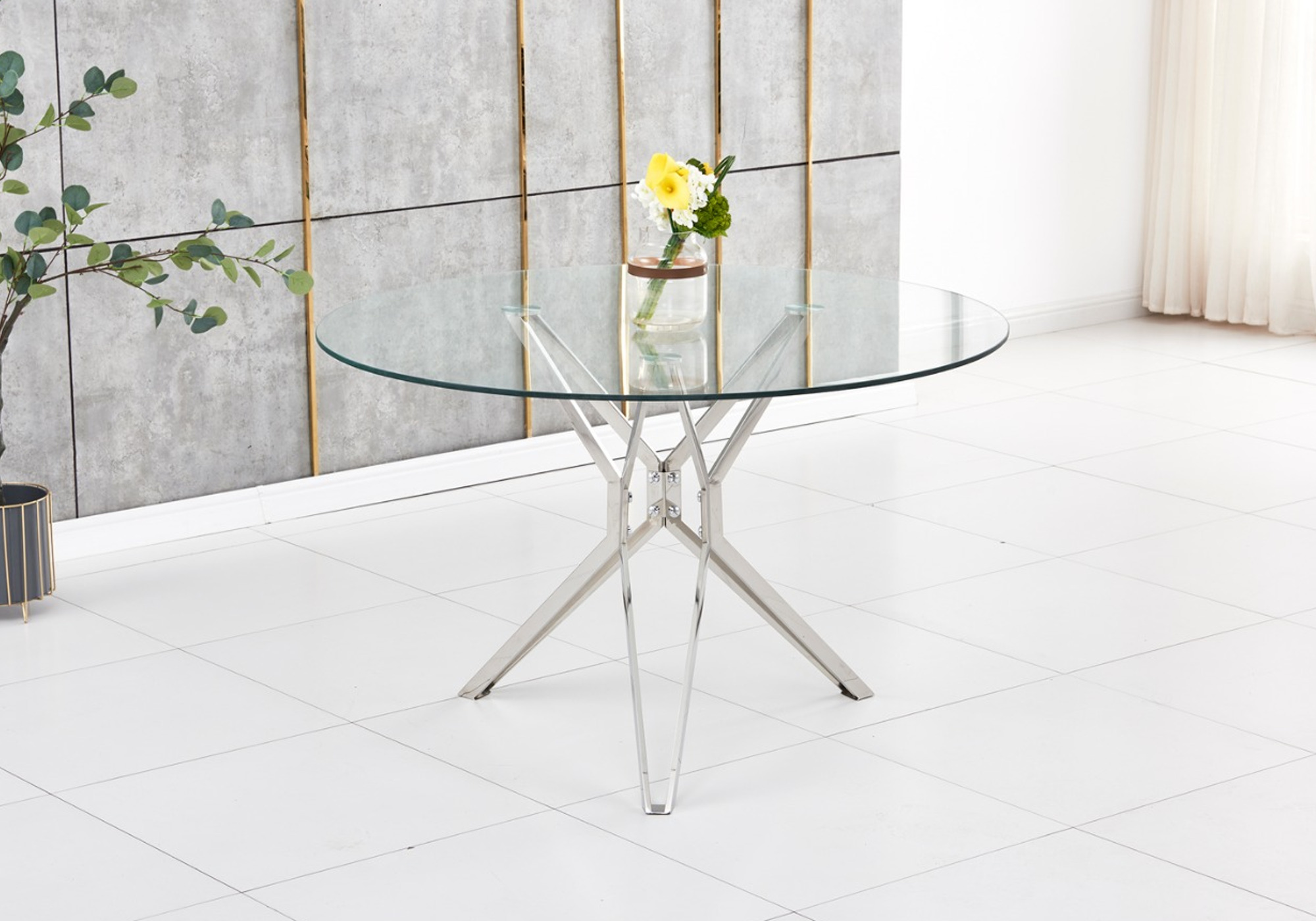 Table ronde chromé verre trempé IVA