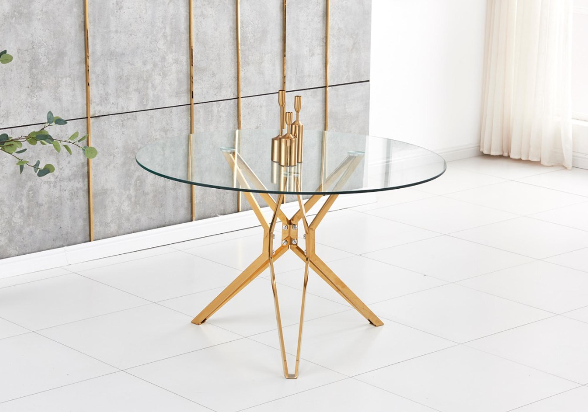 Table ronde doré verre trempé IVA