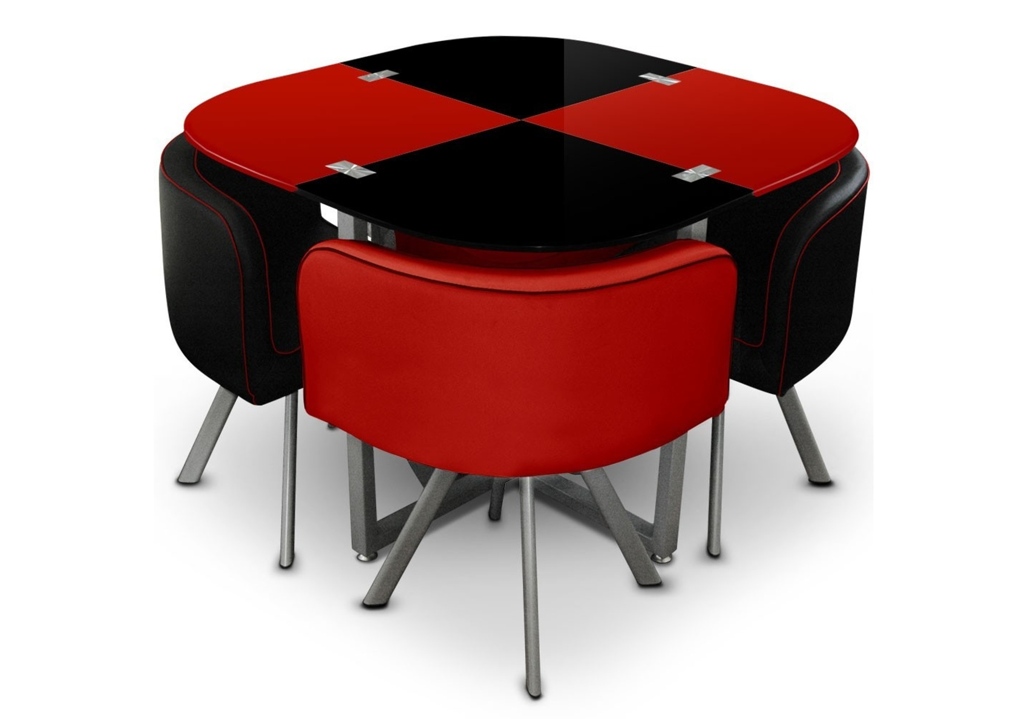Table manger 4 chaises rouge SPACE