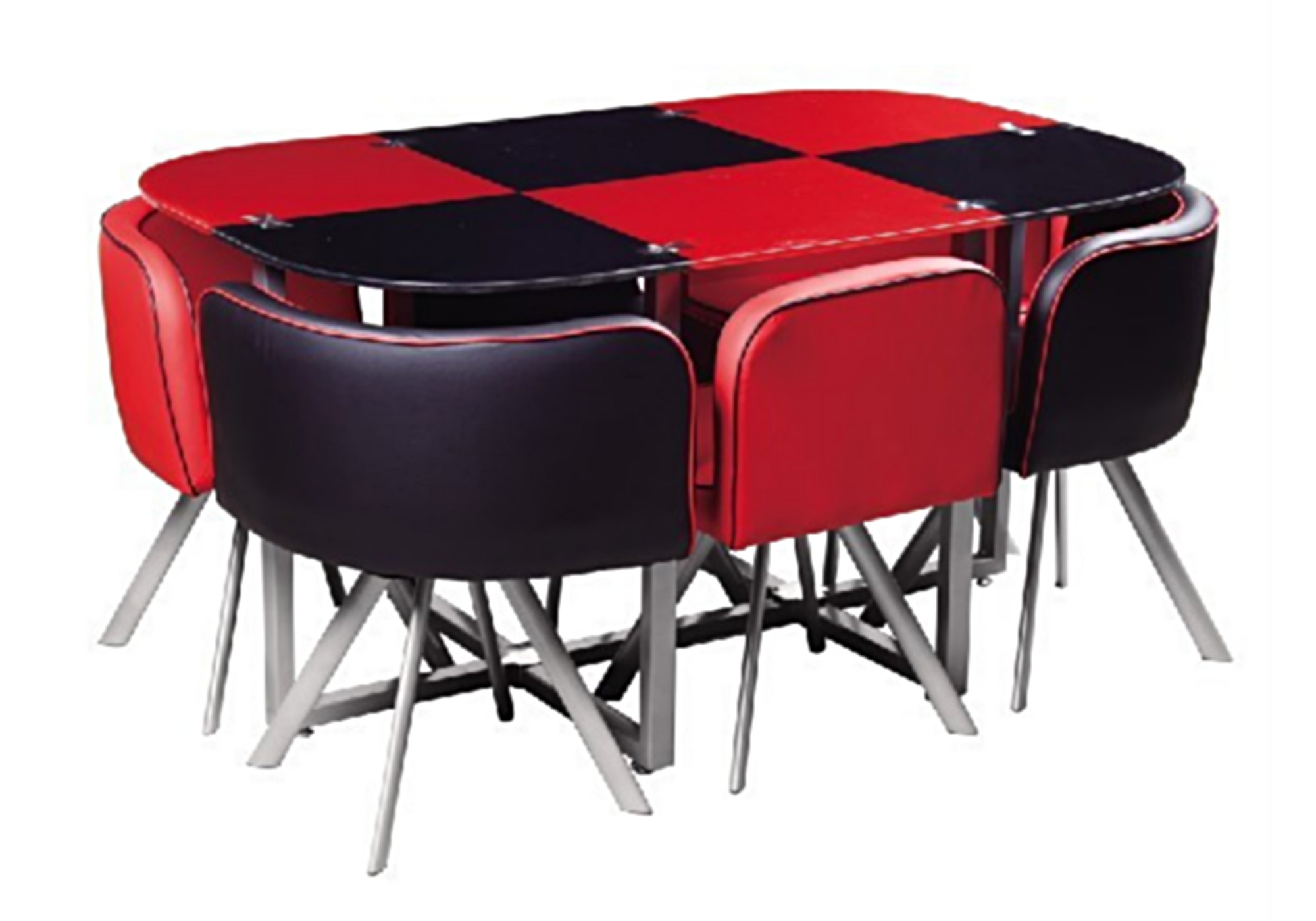 Table manger 6 chaises rouge SPACE