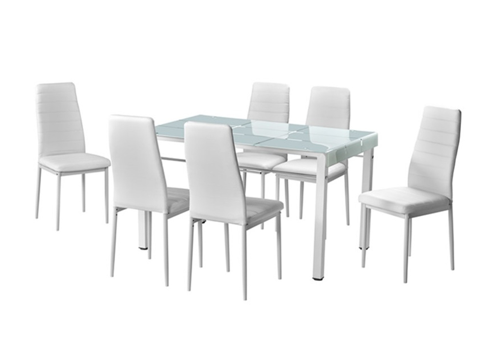 Table repas 6 chaises blanches TAO