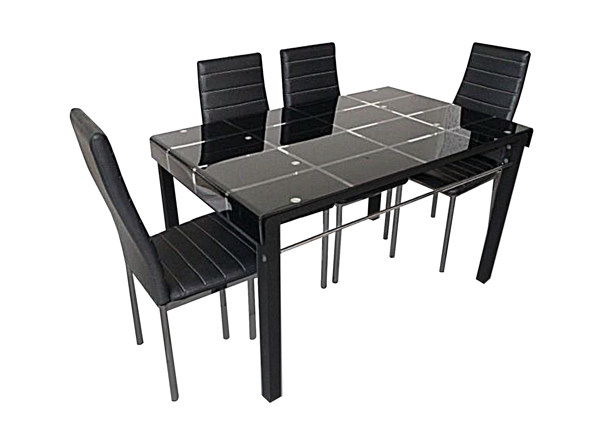 Table repas 6 chaises noires TAO