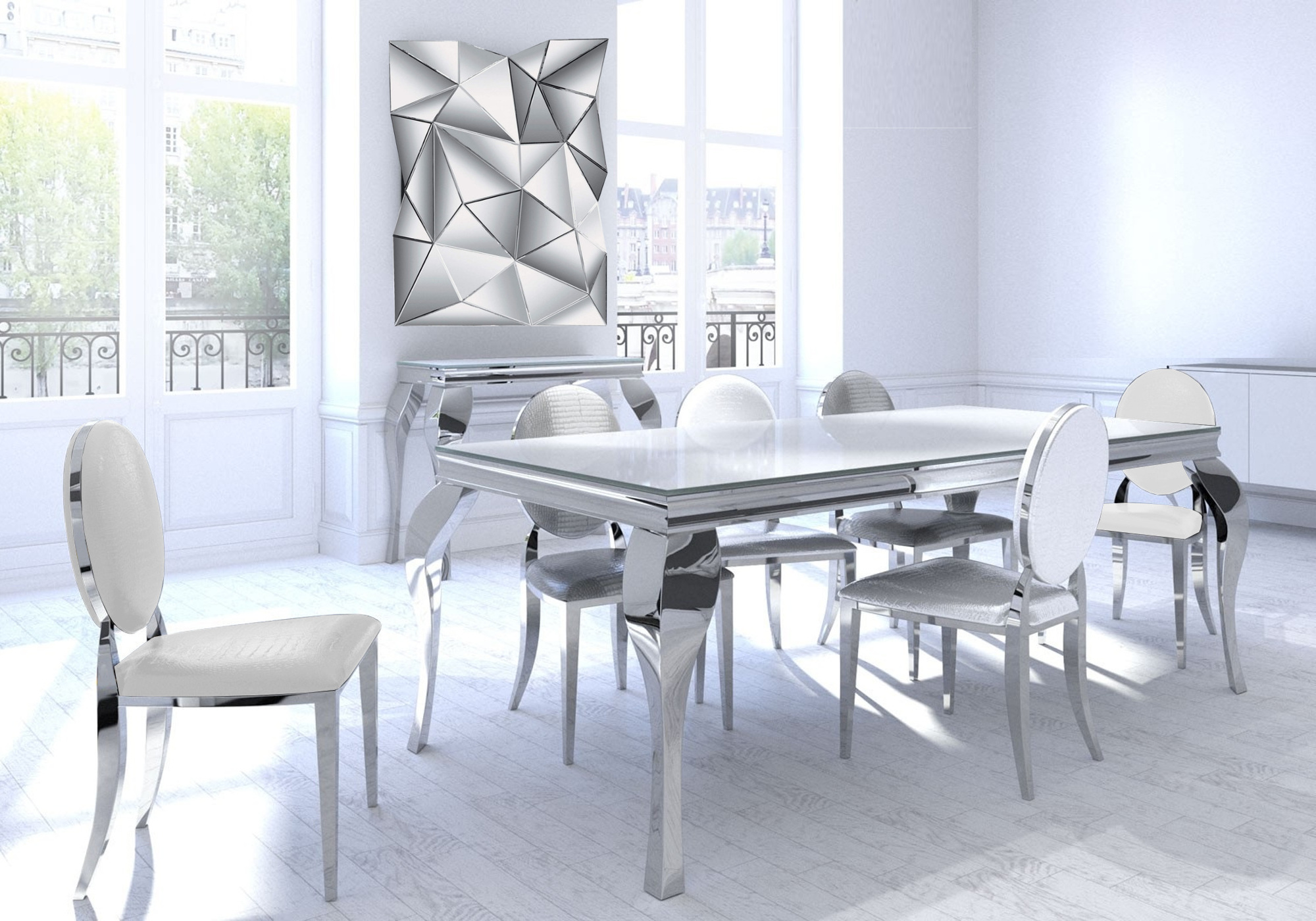 Table repas 4 chaises chromé blanc NEO