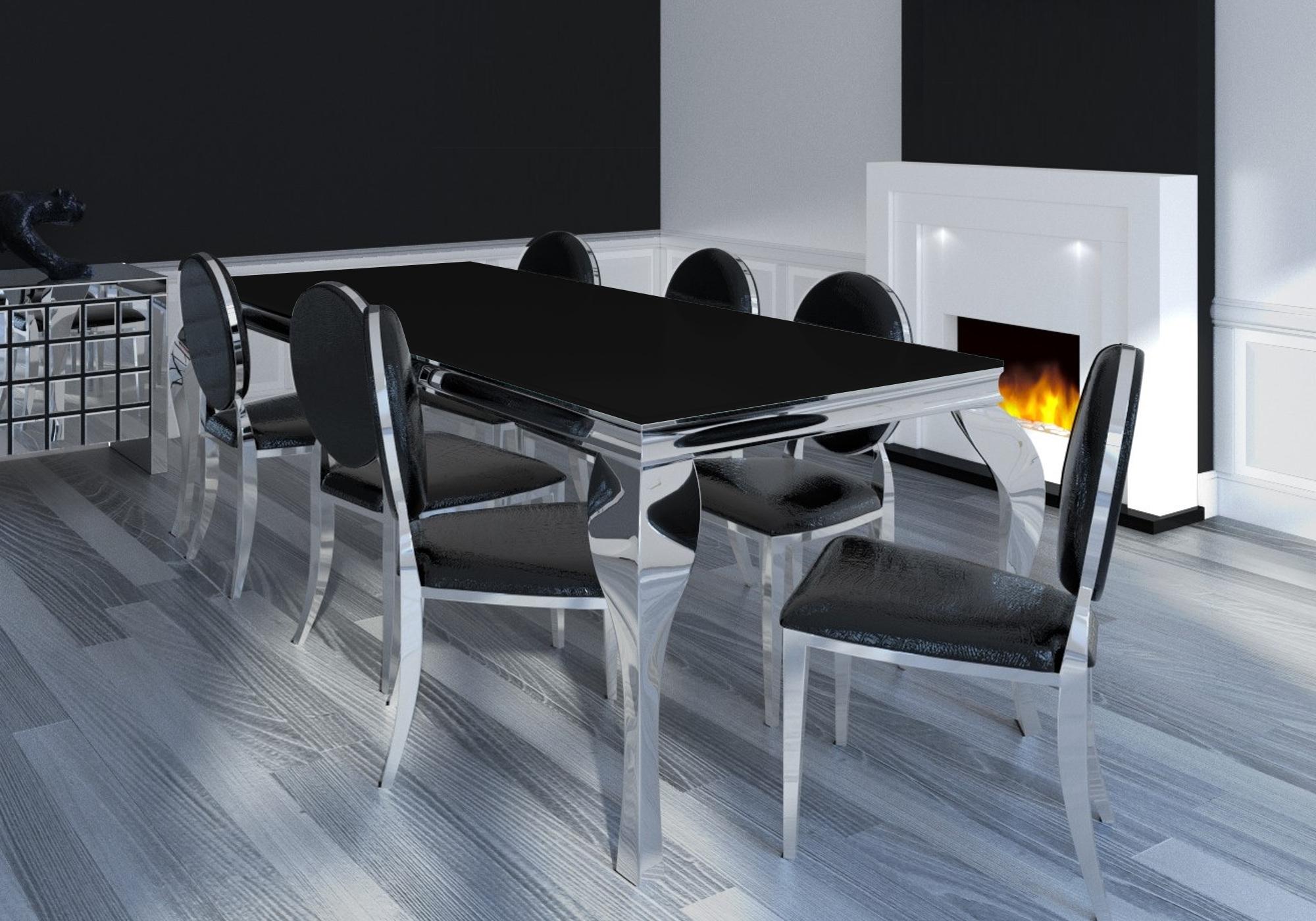 Table repas 4 chaises chromé noir NEO