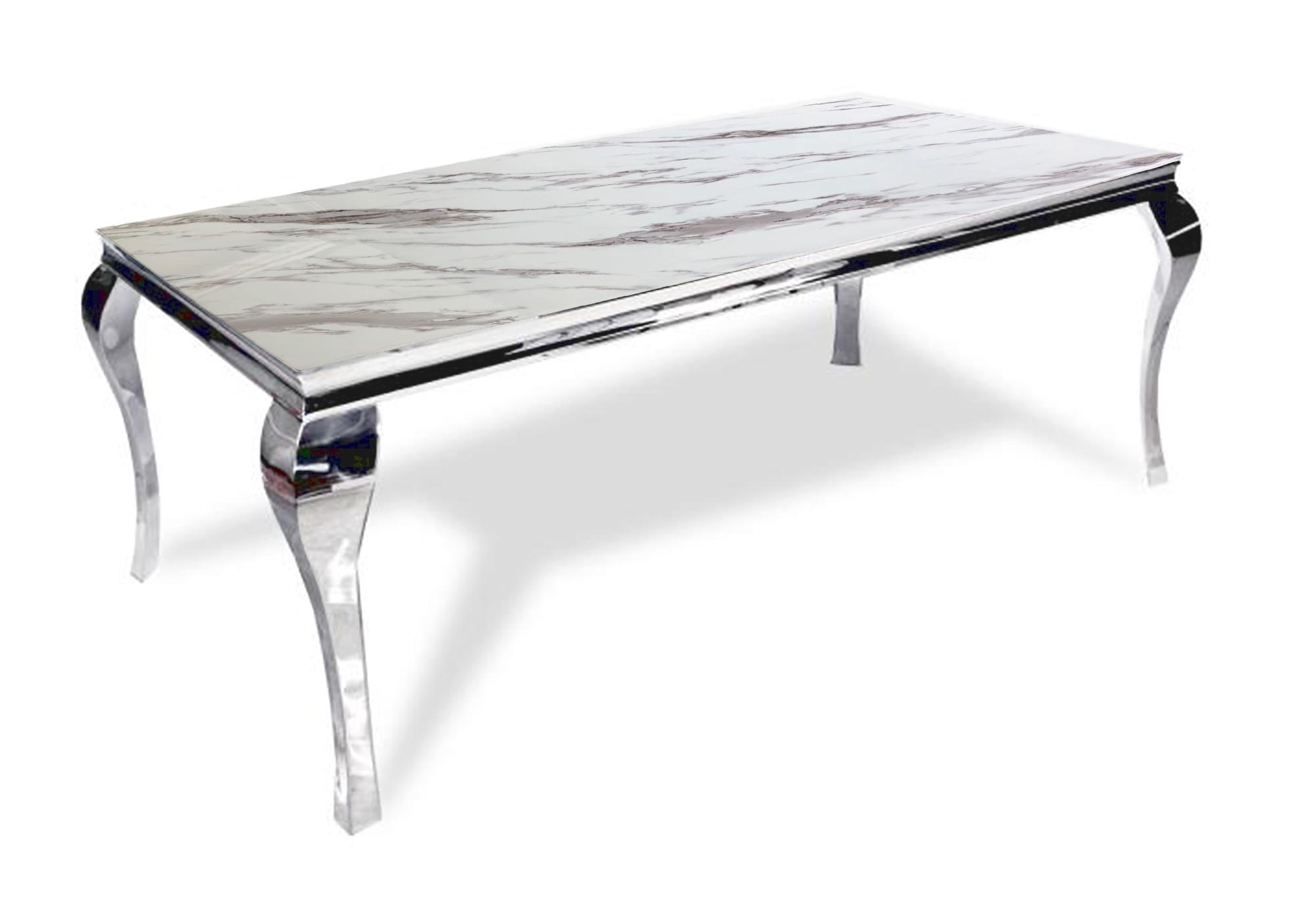 Table repas chromé marbre blanc NEO XL