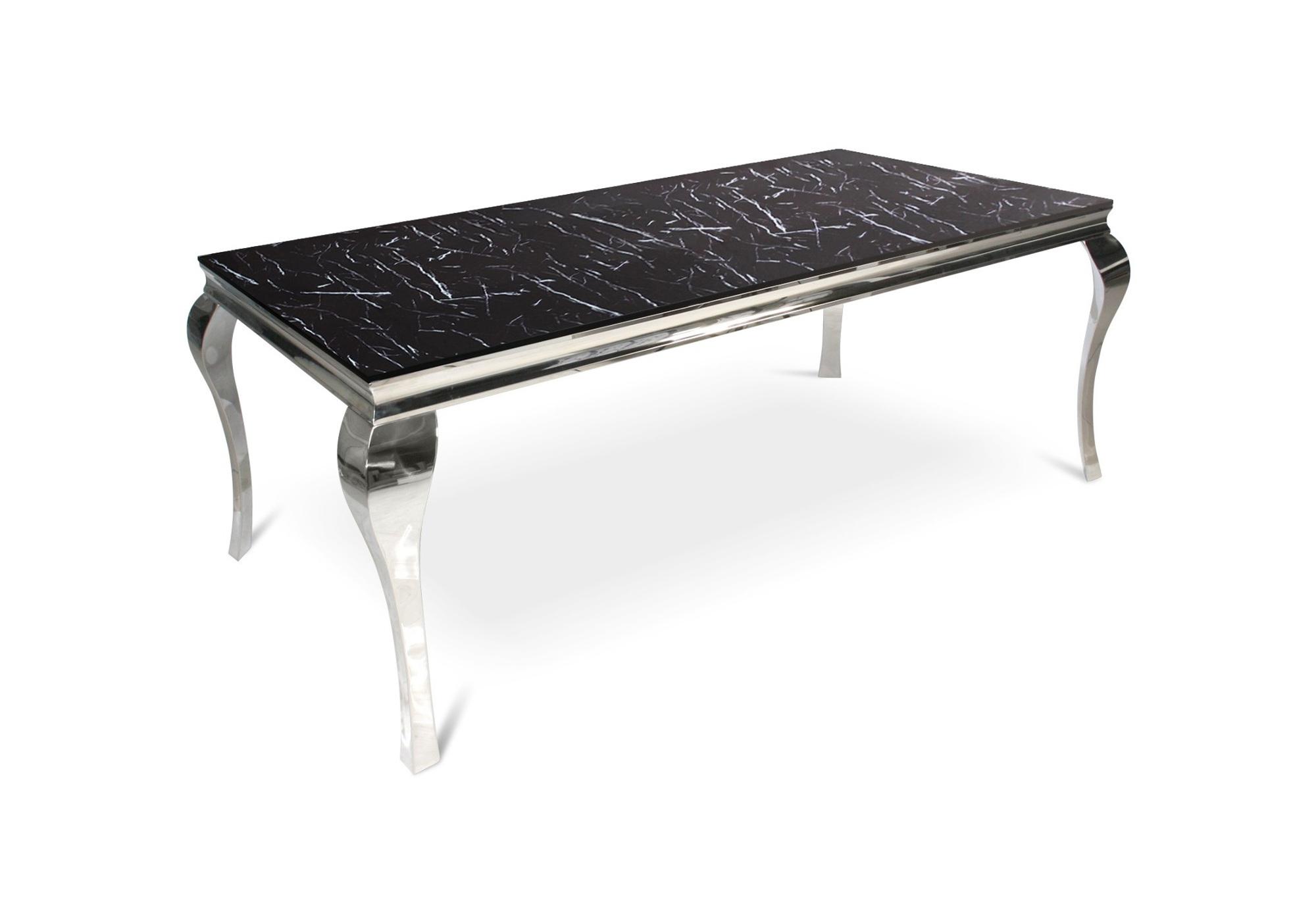 Table repas chromé marbre noir NEO