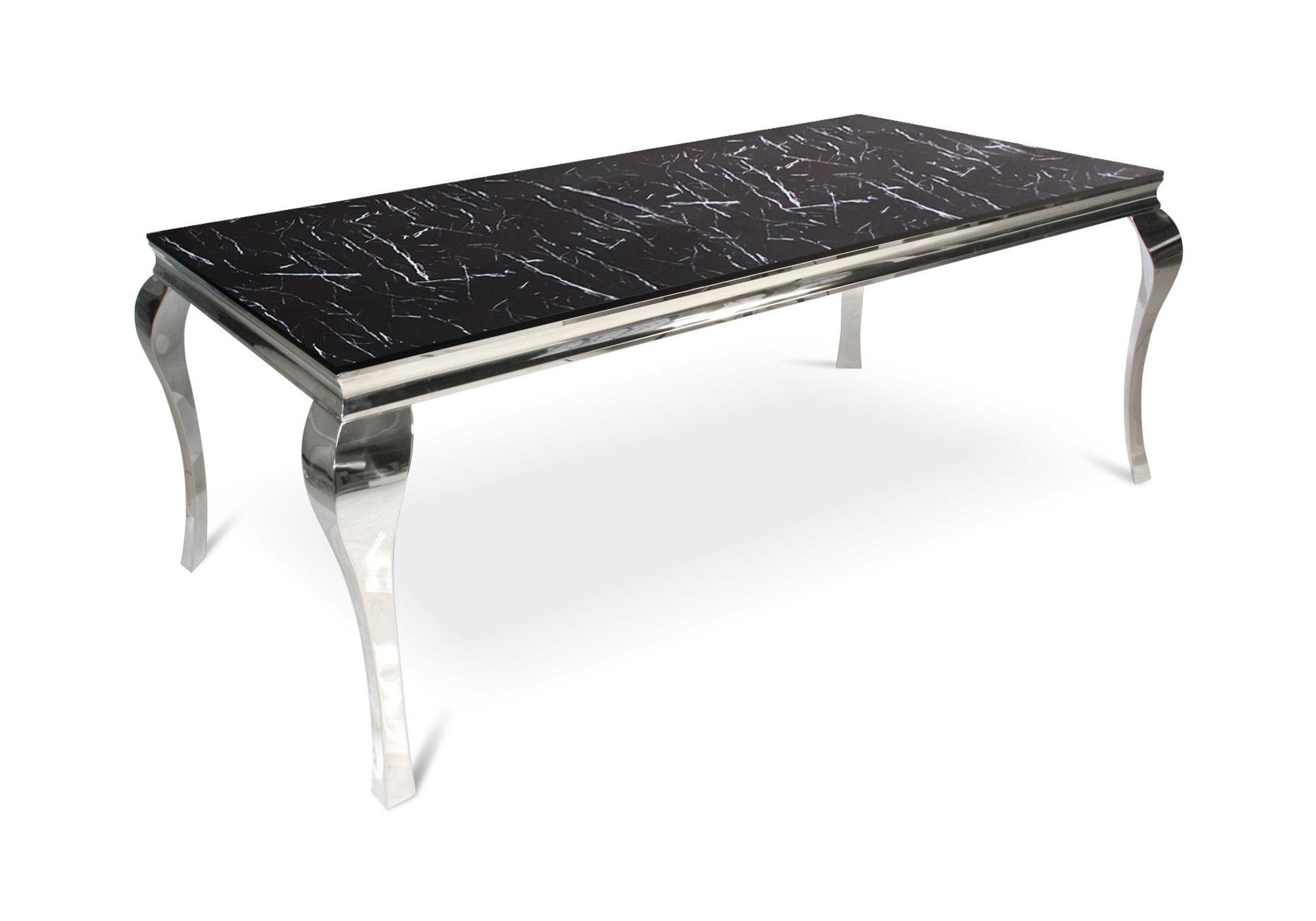 Table repas chromé marbre noir NEO XL