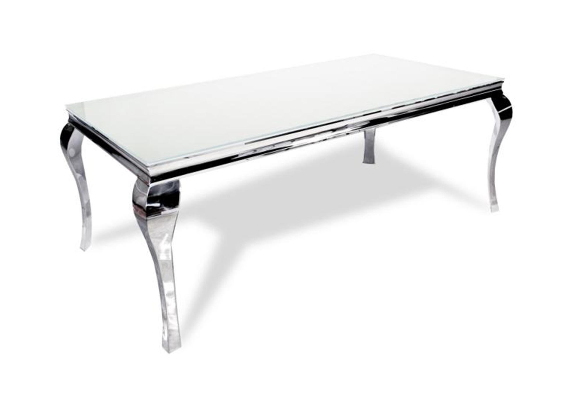 Table repas chromé verre blanc NEO