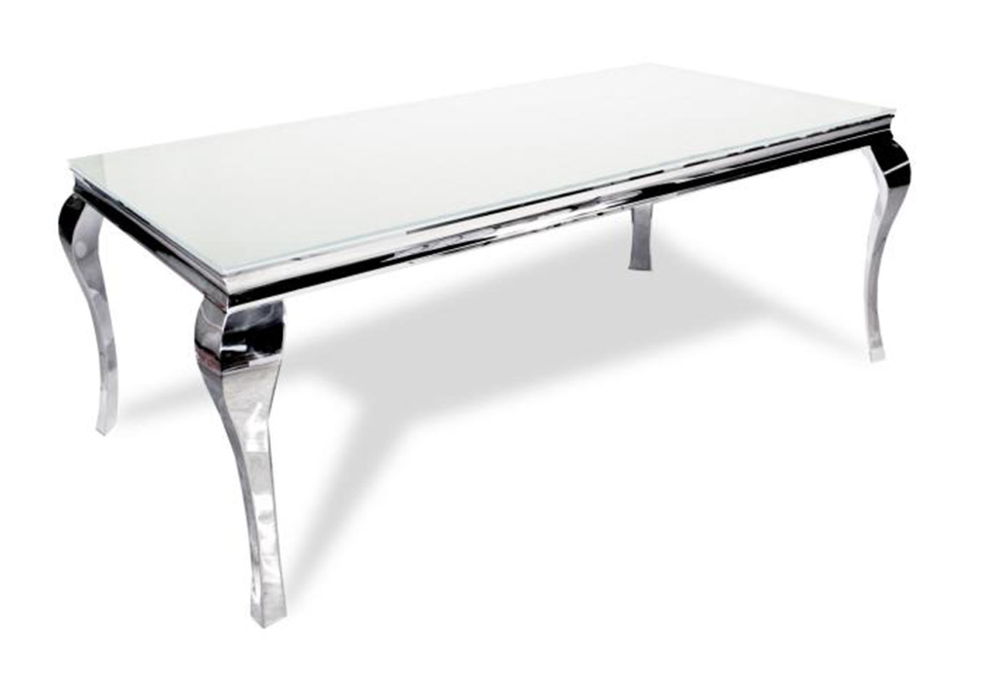 Table repas chromé verre blanc NEO-XL