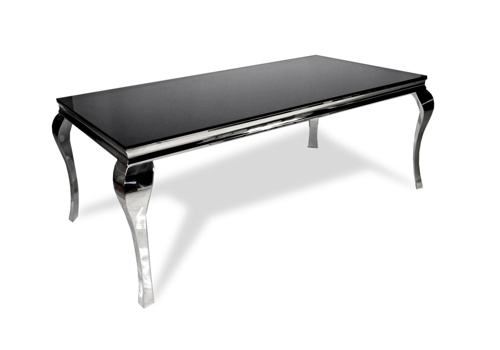 Table repas chromé verre noir NEO XL