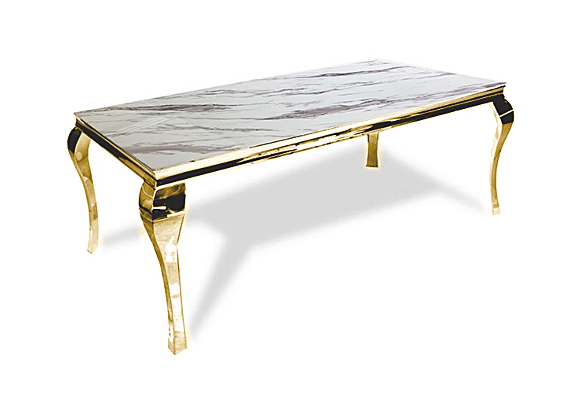 Table repas doré marbre blanc NEO