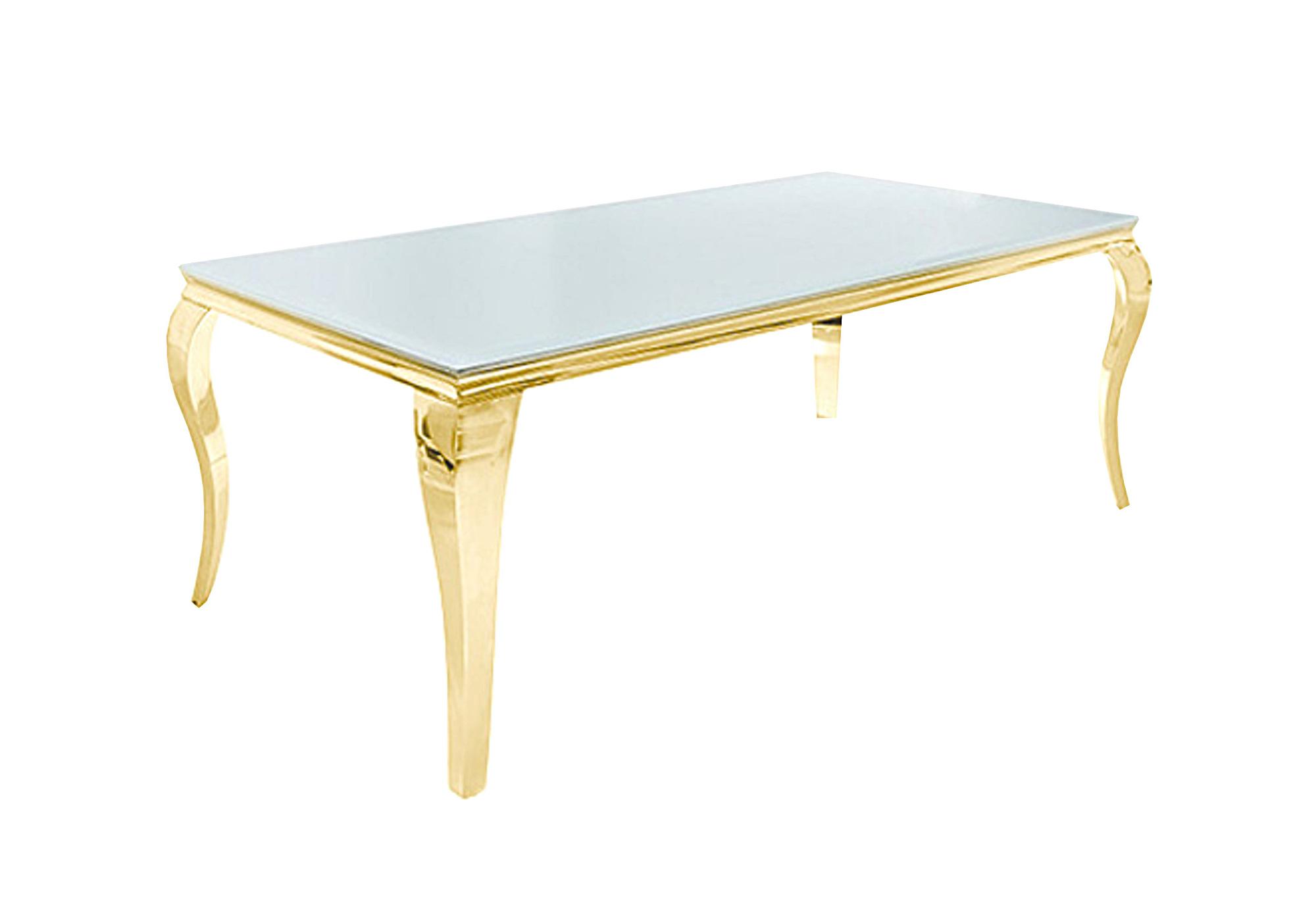 Table repas doré verre blanc NEO