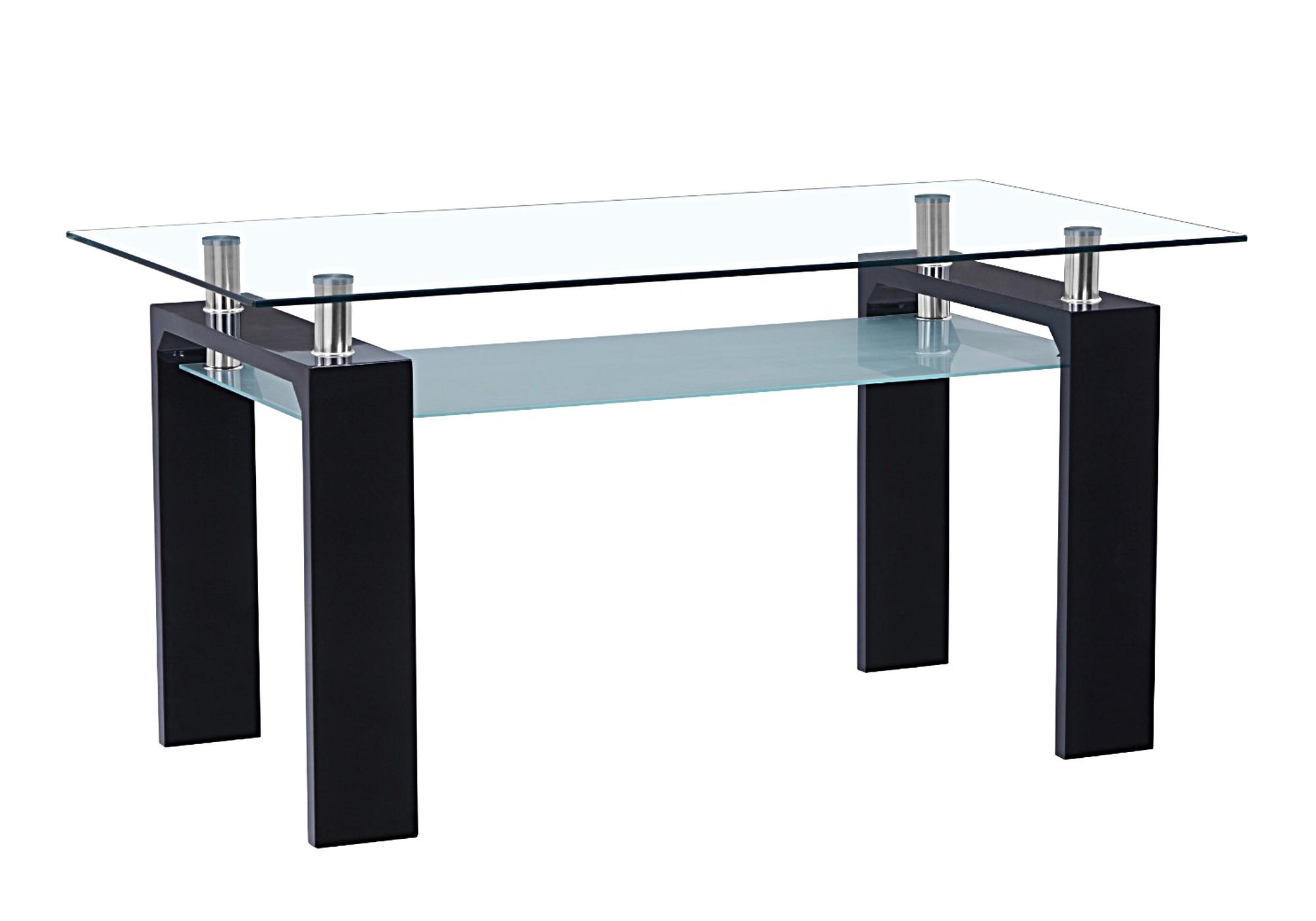 Table repas laqué noir verre TOE-1