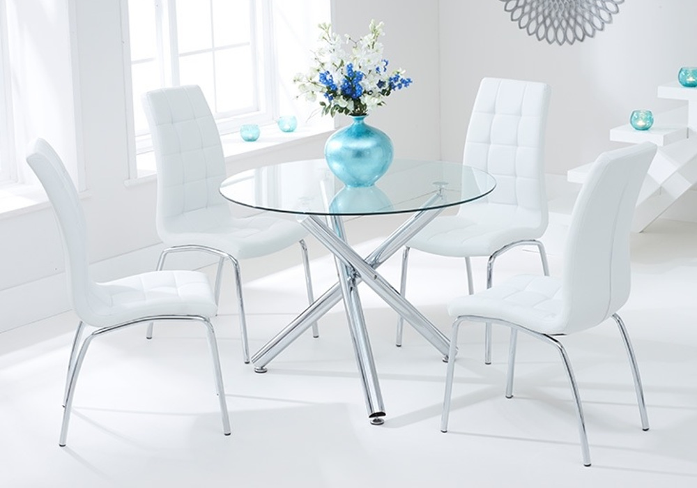 Table ronde chromé 6 chaises blanc RETRO