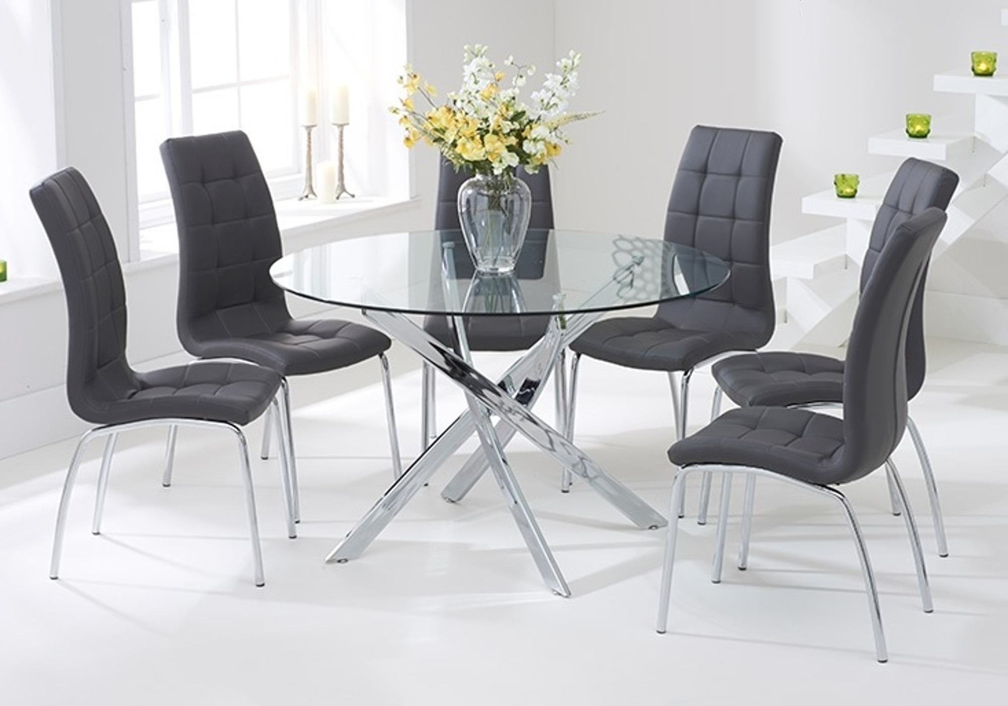 Table chromé 6 chaises grises DESIGN