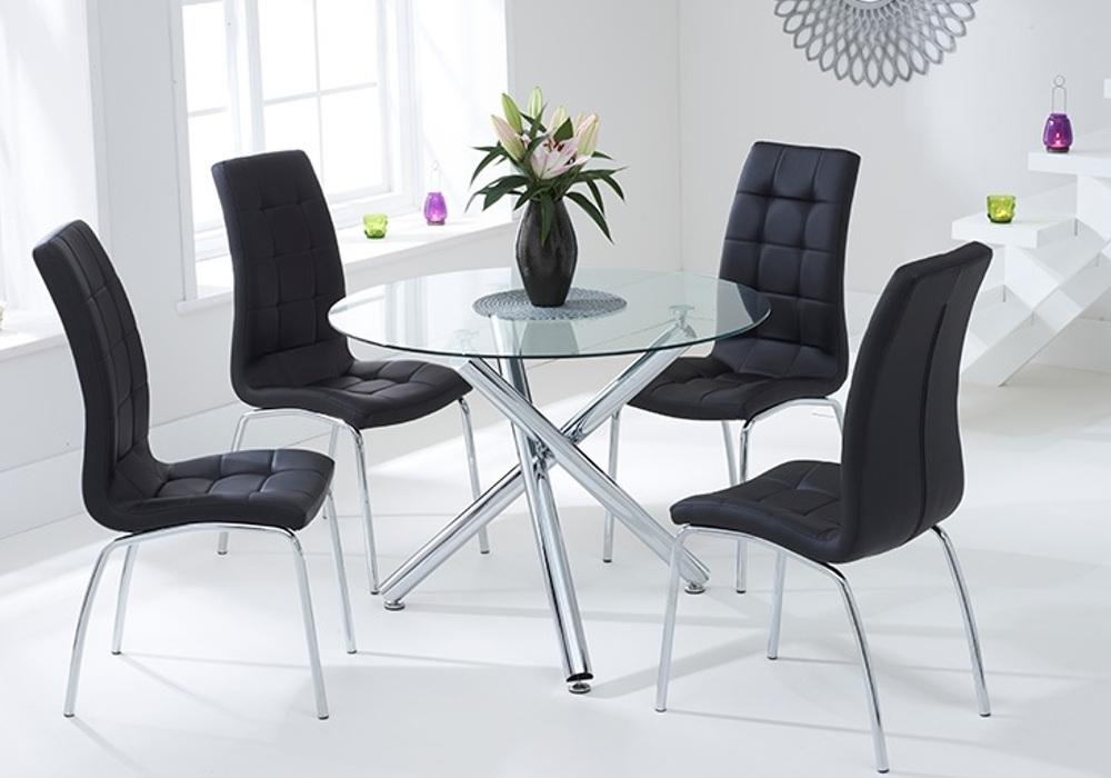 Table ronde chromé 6 chaises noir RETRO