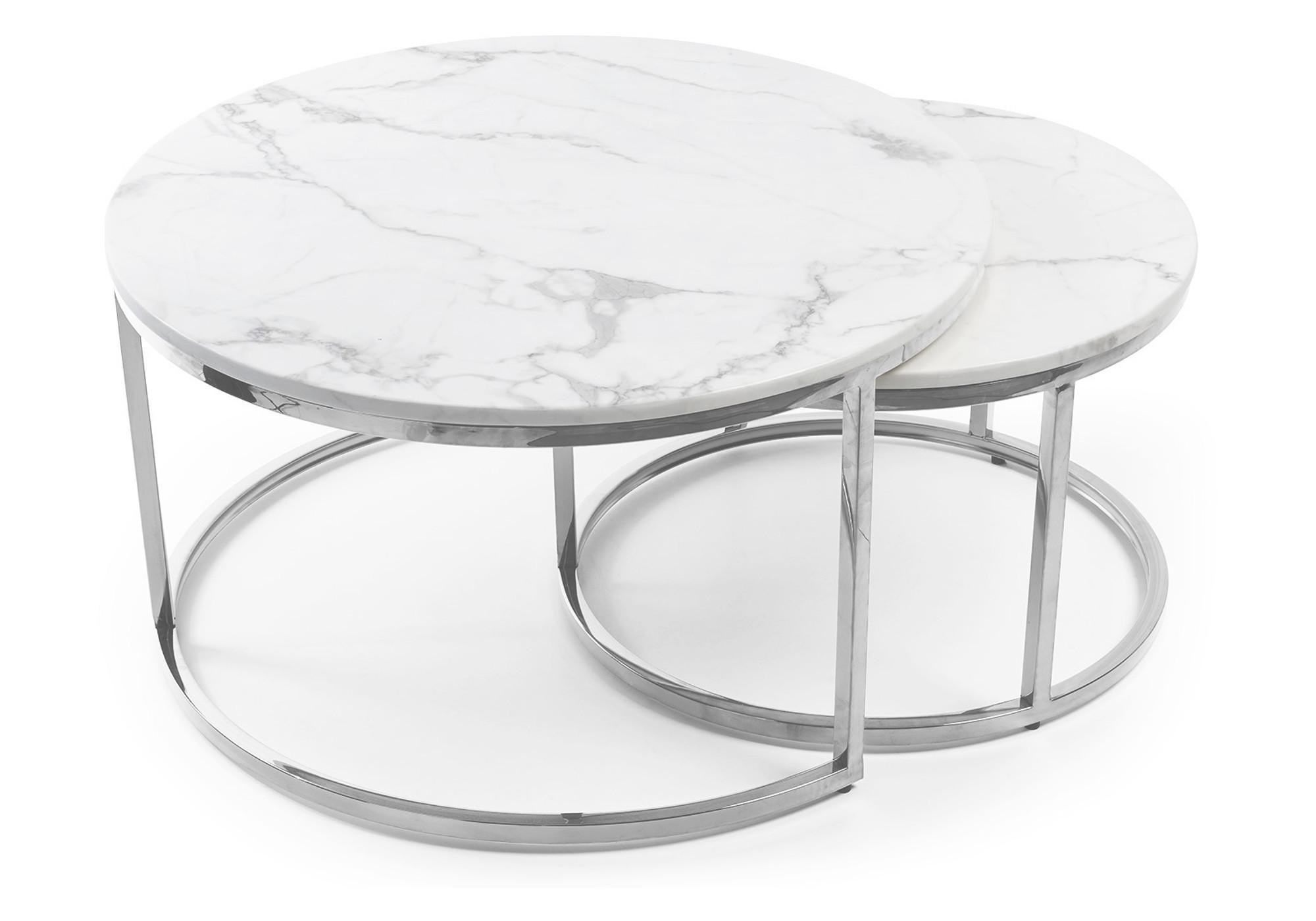 Tables gigognes chromé marbre blanc OREA