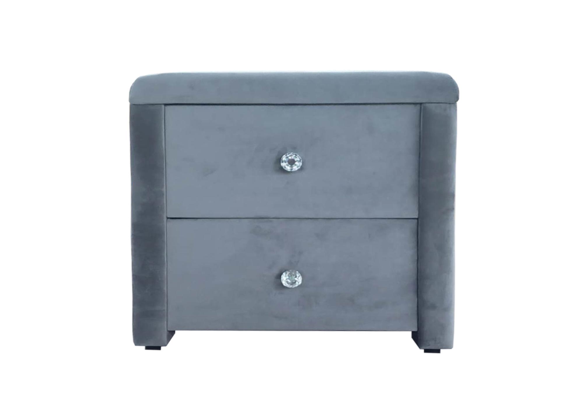 Table chevet velours gris ANIS
