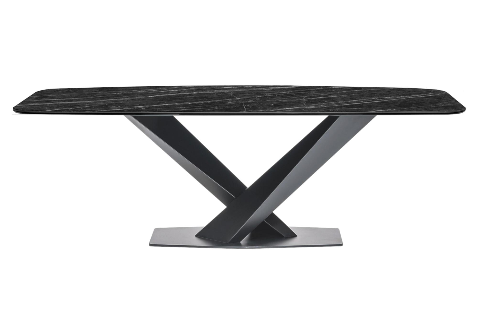 Table repas design marbre noir CÉRA