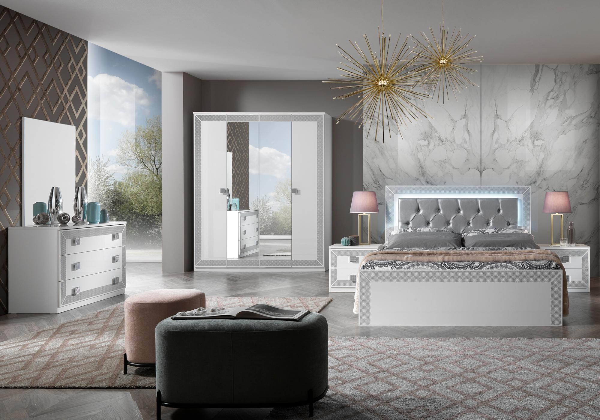 Chambre complète laqué blanc argent CARLA