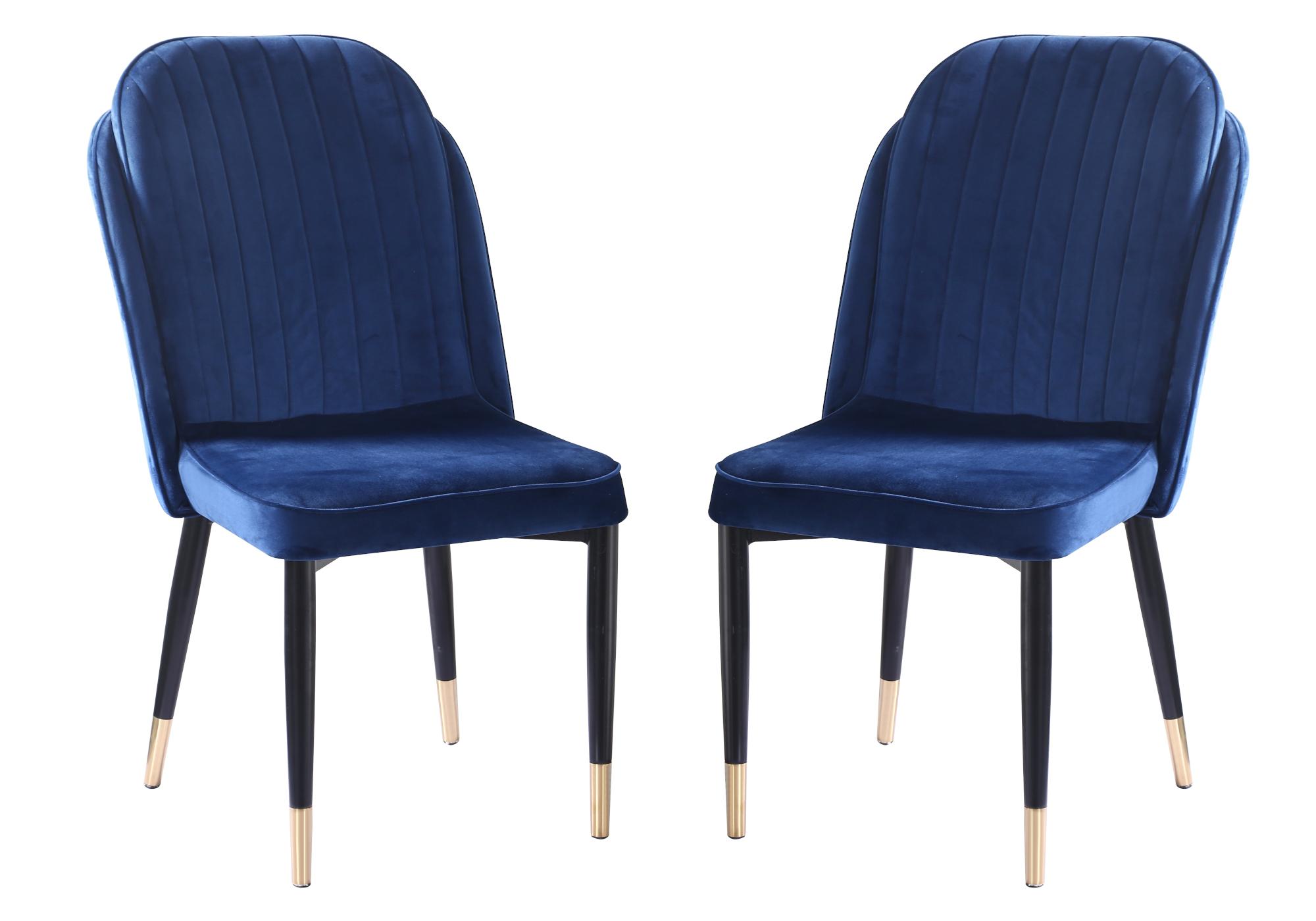 Chaises rétro velours bleu AVY