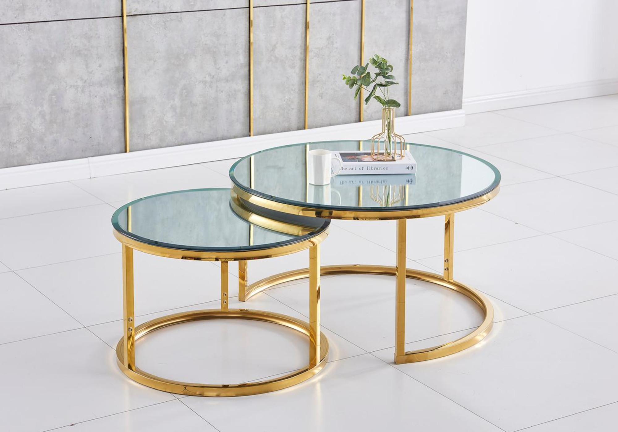 Tables gigognes doré miroir OREA
