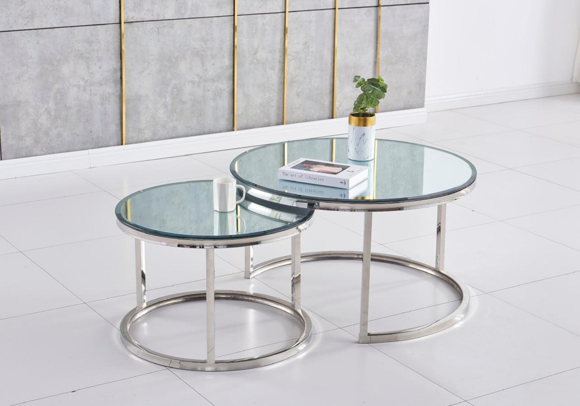 Tables gigognes chromé miroir OREA