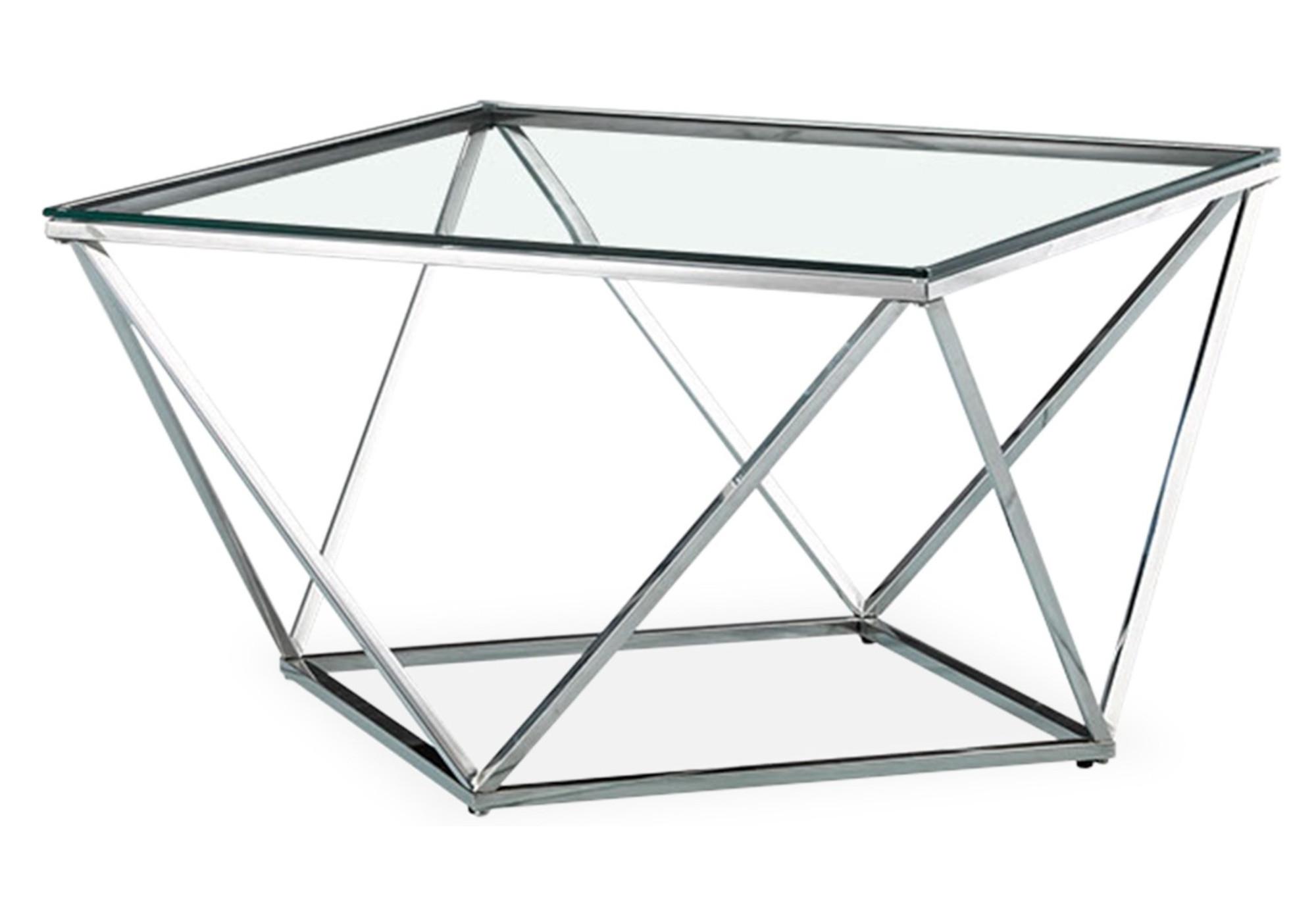Table basse carré chrome verre ILÉA