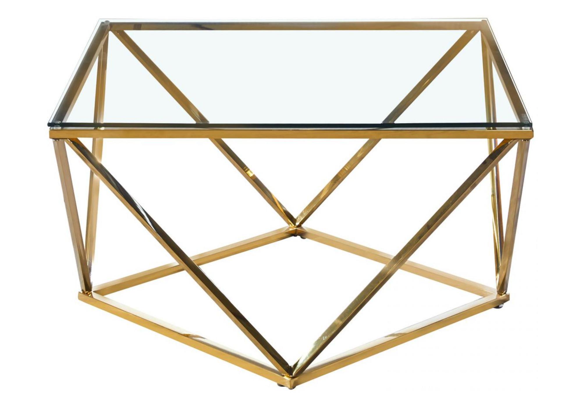 Table basse carré doré verre ILÉA