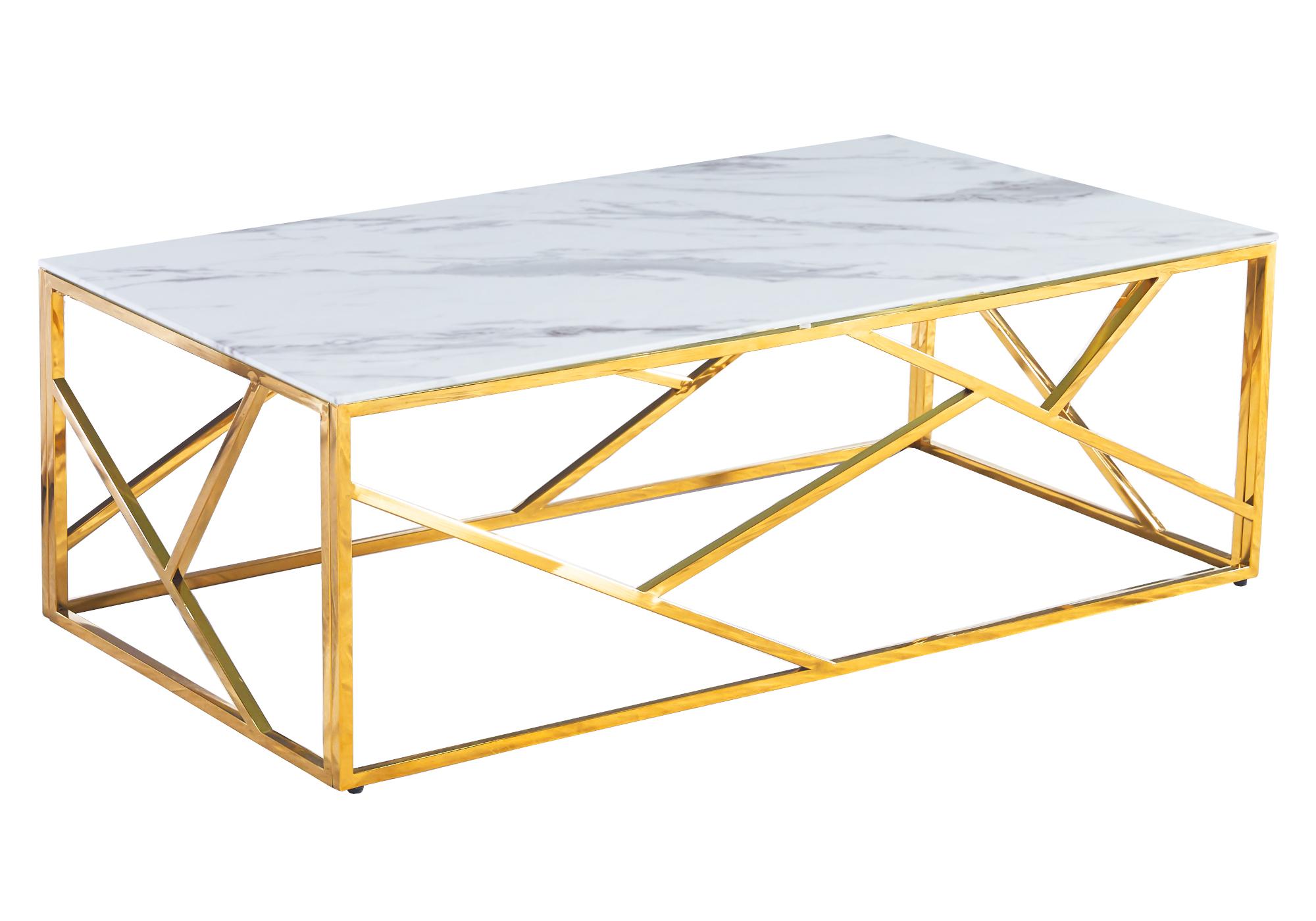 Table basse dorée marbre blanc ILÉA