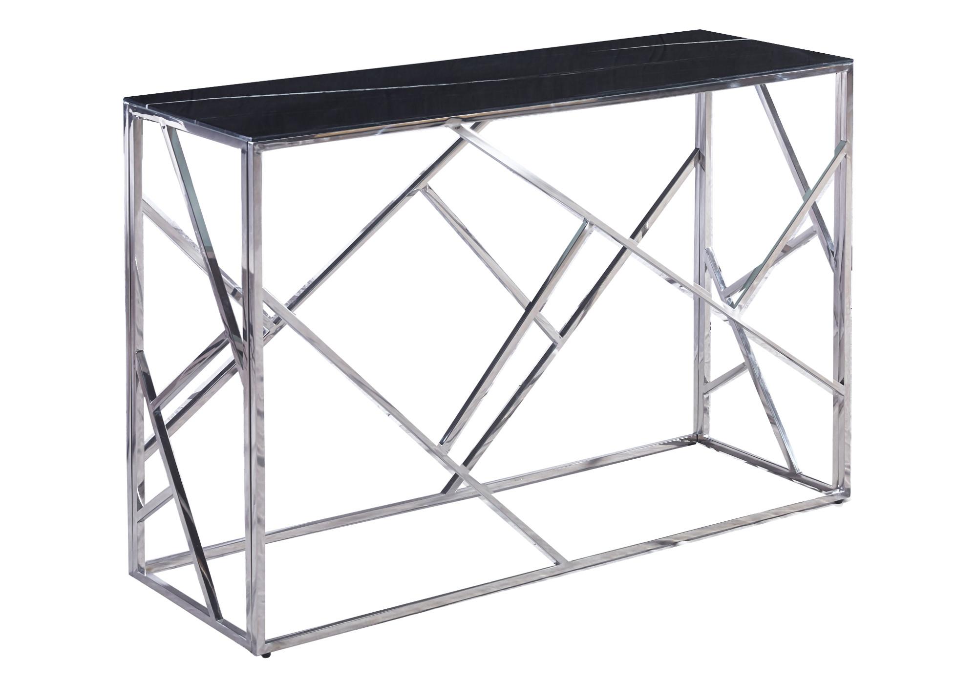 Console design chromé marbre noir ILÉA