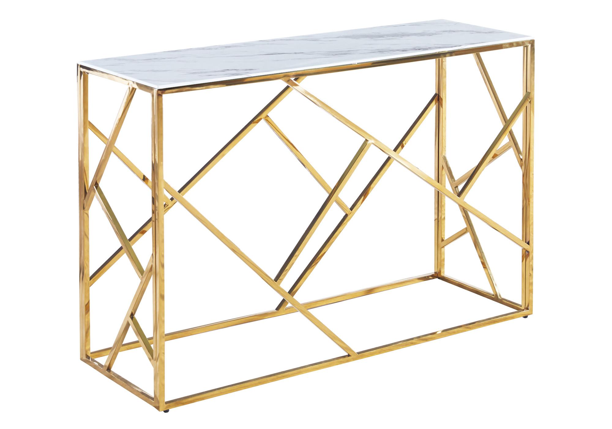 Console design doré marbre blanc ILÉA