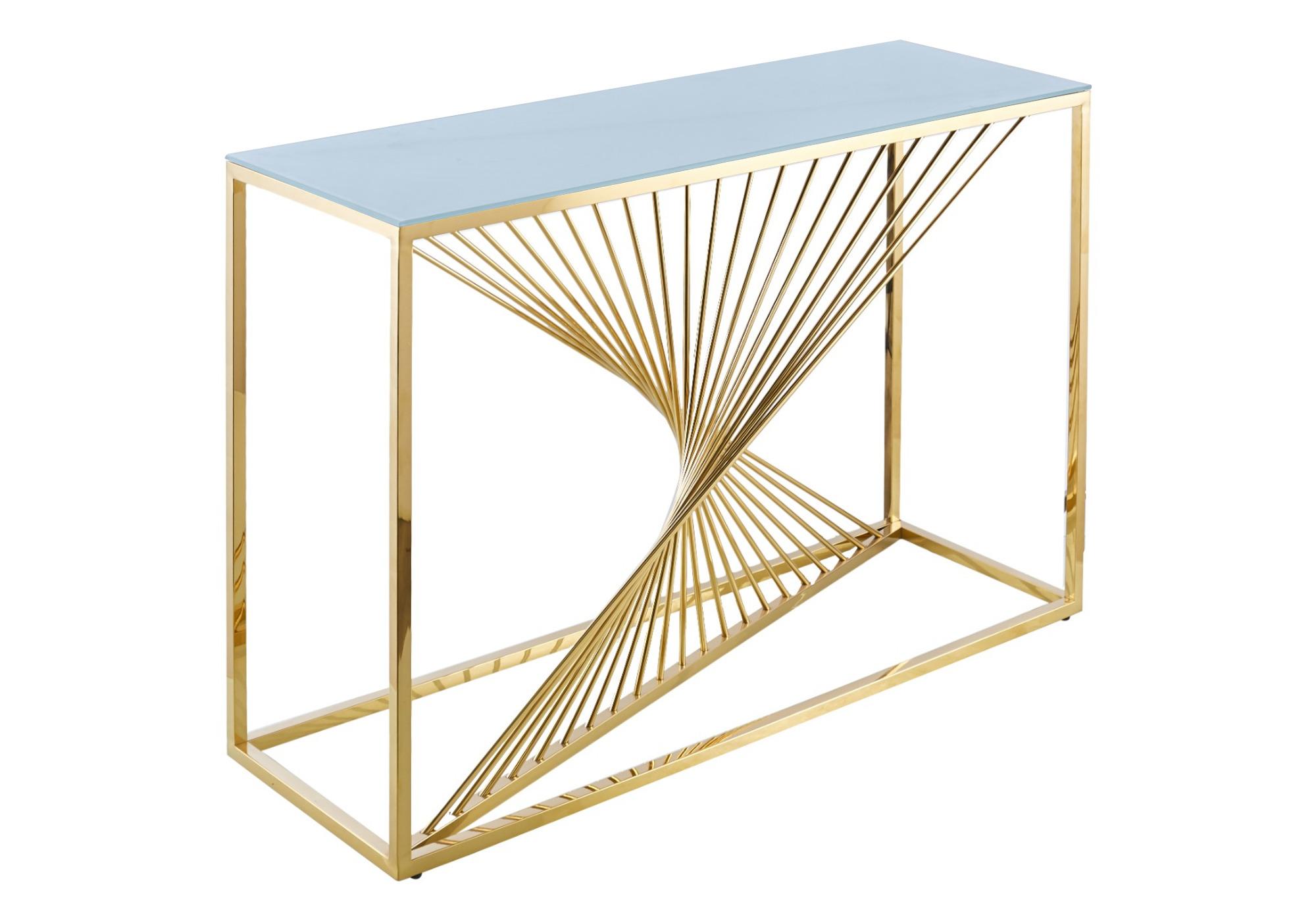Console design doré verre blanc LUC