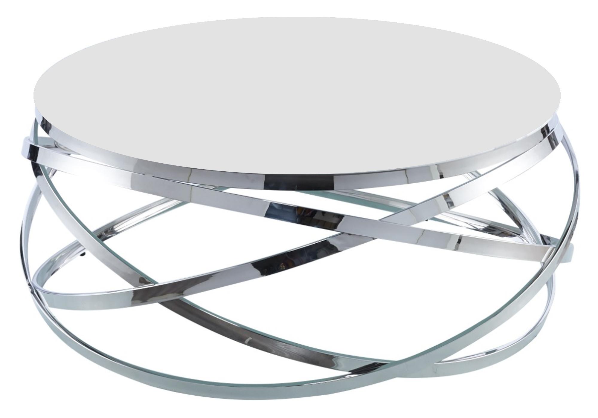 Table basse design chromé blanc EVO