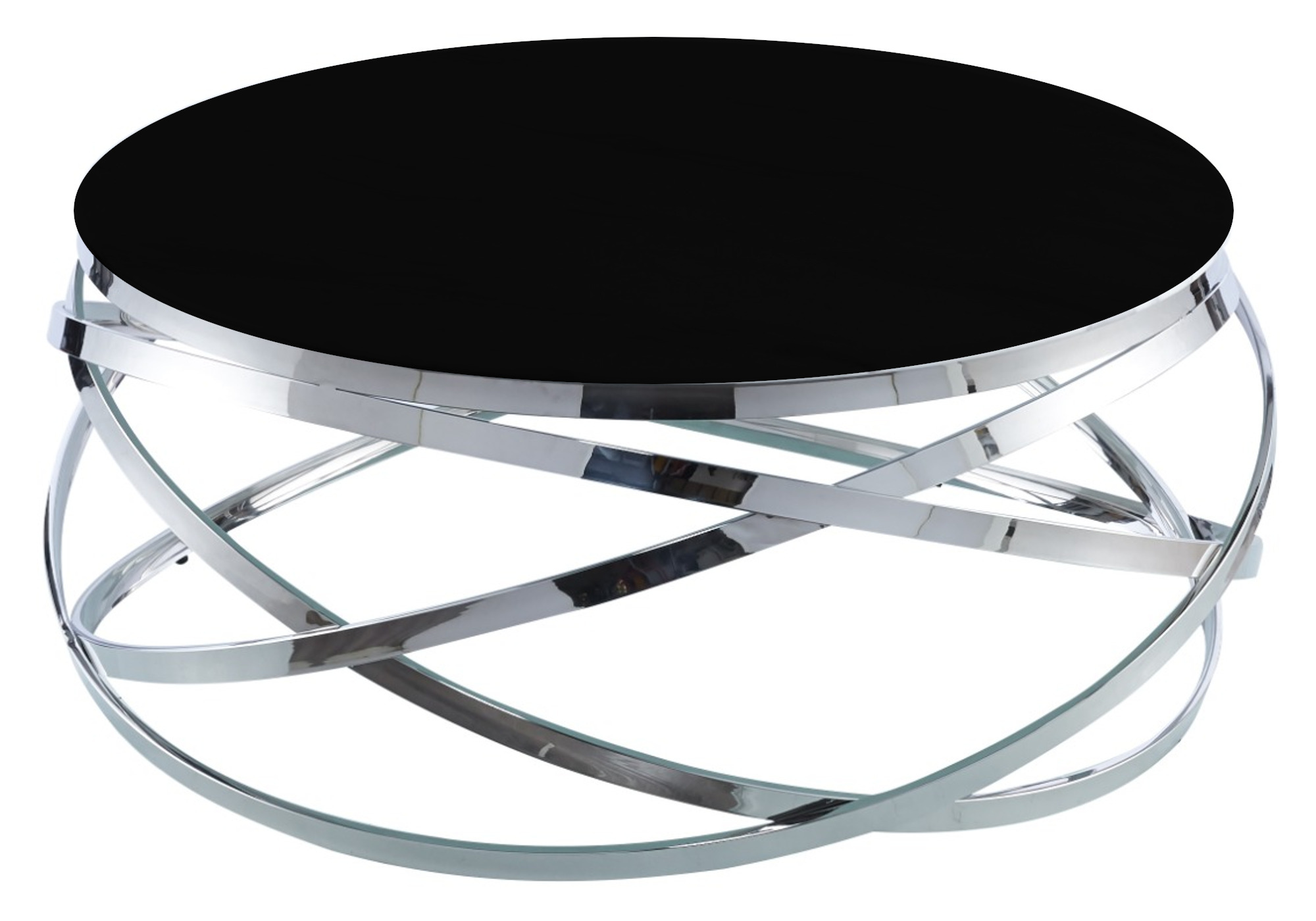 Table basse design chromé noir EVO
