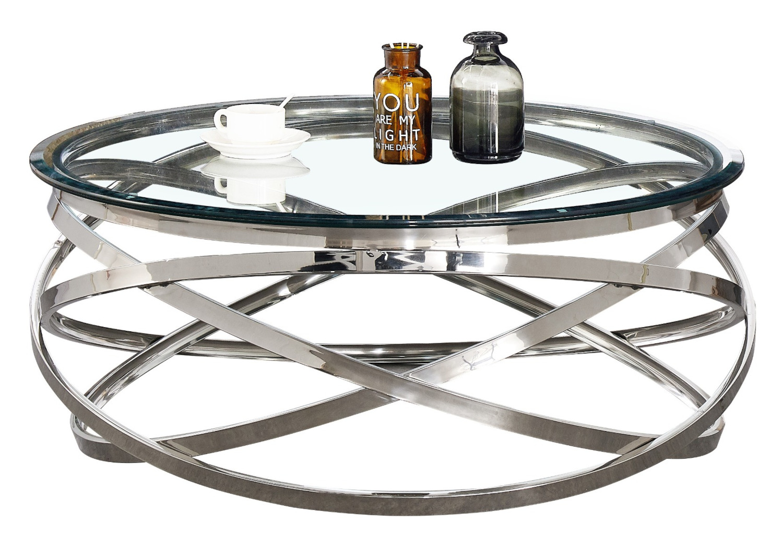 Table basse design chromé verre EVO