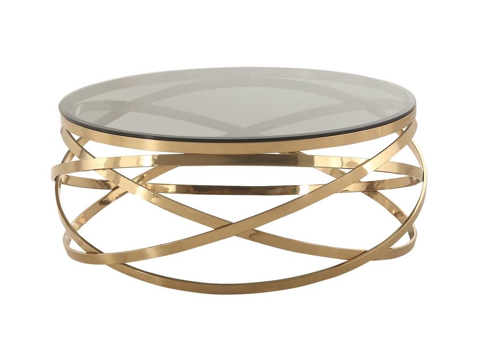 Table basse design dorée verre EVO