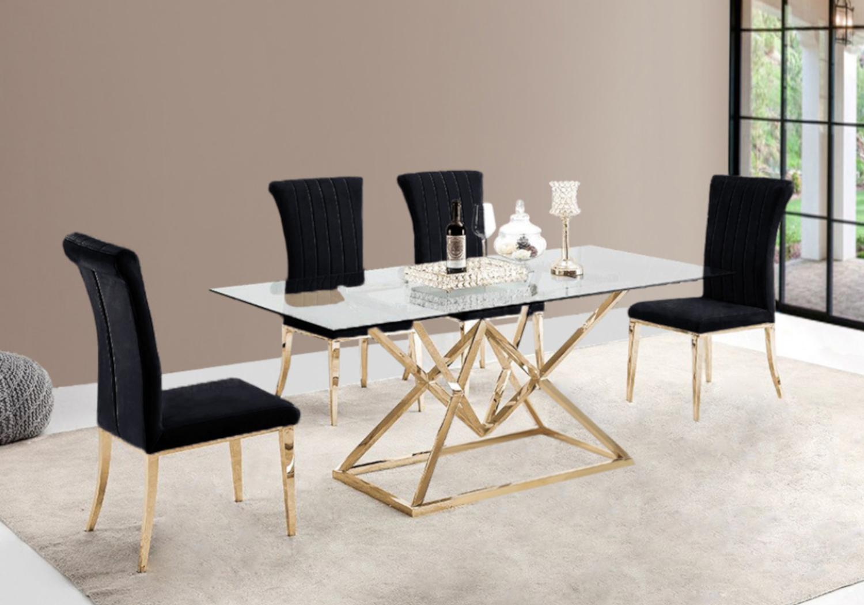 Table repas doré 6 chaises noir LUXOR