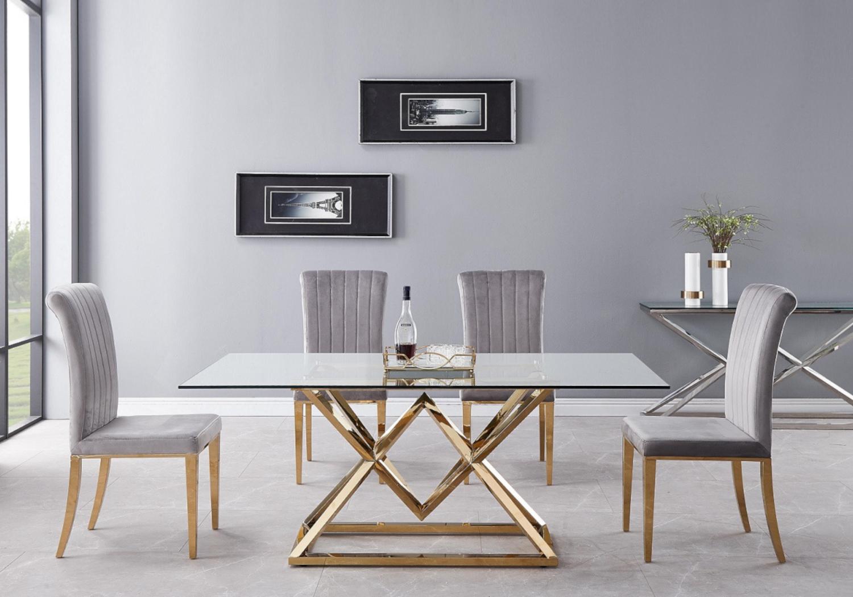 Table repas doré 6 chaises gris LUXOR.2