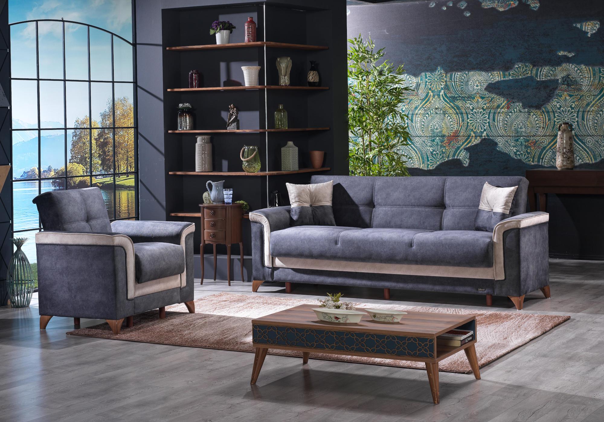Canapé lit tissu daim gris VITO