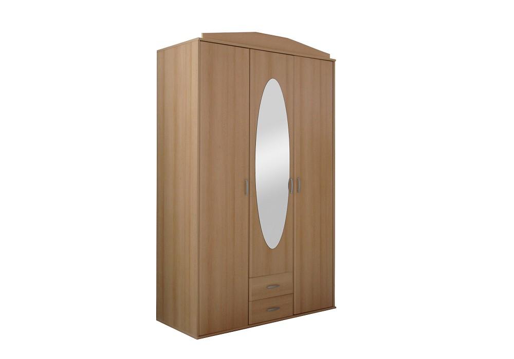 Armoire 3 portes 2 tiroirs NIKO hêtre