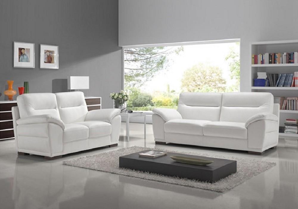 Canapé cuir design blanc CALINO