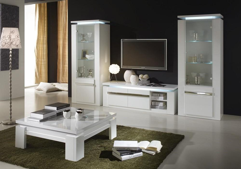 Ensemble meuble tv laqué blanc RIVA