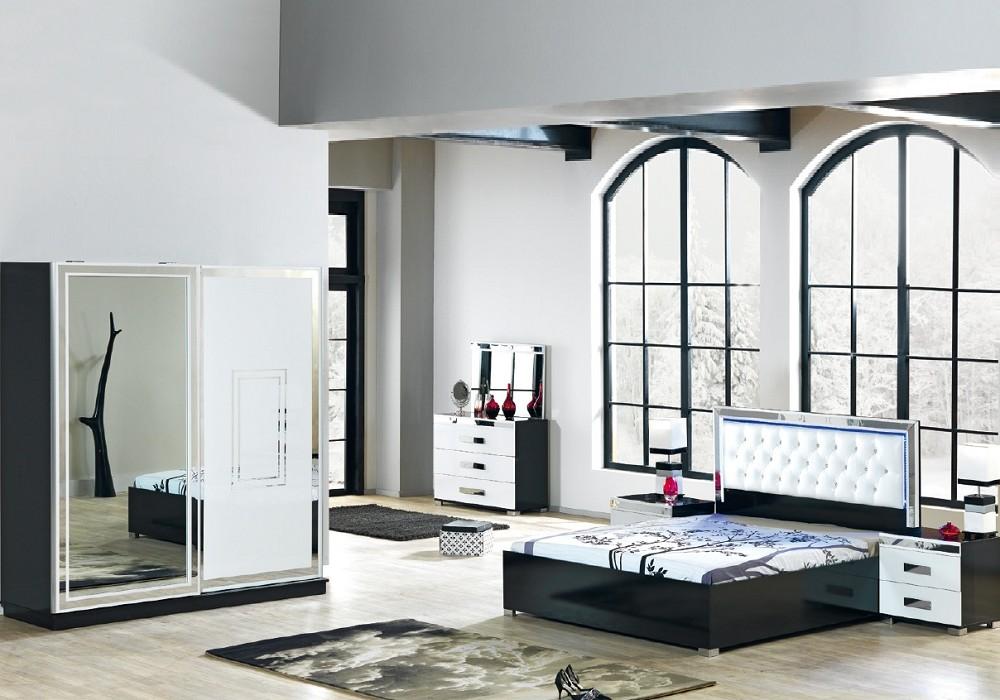 Chambre Complete Laque Noir Led Chrome Ligne Design Tendance Chic