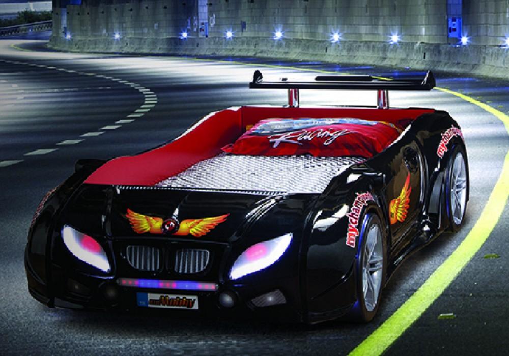 Lit enfant voiture course noir R1